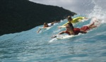 Tuva, Gretta & Kristin sharing a wave